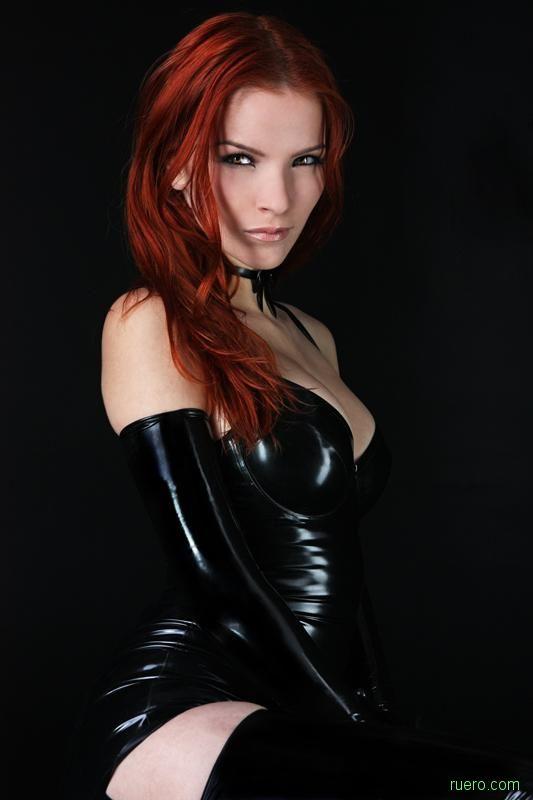 Redhead latex sub, wife black impregnated