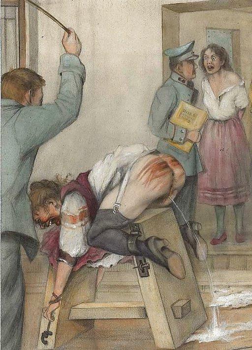Розги служанка наказание порка горничная женщина ремень